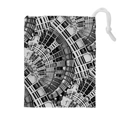 Semi Circles Abstract Geometric Modern Art Drawstring Pouches (Extra Large)