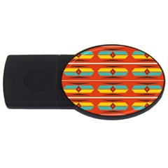 Shapes in retro colors pattern                        			USB Flash Drive Oval (1 GB)