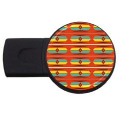 Shapes in retro colors pattern                        			USB Flash Drive Round (4 GB)