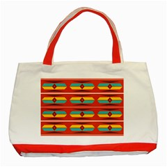 Shapes in retro colors pattern                        Classic Tote Bag (Red)