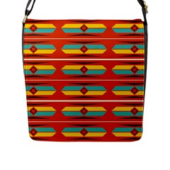 Shapes in retro colors pattern                        			Flap Closure Messenger Bag (L)