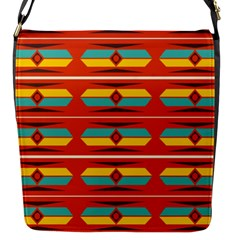 Shapes in retro colors pattern                        			Flap Closure Messenger Bag (S)