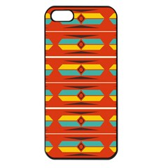 Shapes In Retro Colors Pattern                        			apple Iphone 5 Seamless Case (black)
