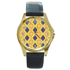 Tribal shapes and rhombus pattern                        			Round Gold Metal Watch