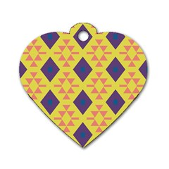 Tribal shapes and rhombus pattern                        			Dog Tag Heart (One Side)