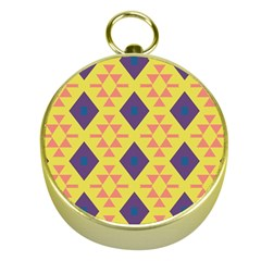 Tribal shapes and rhombus pattern                        			Gold Compass