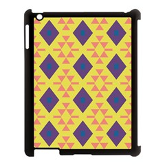 Tribal shapes and rhombus pattern                        			Apple iPad 3/4 Case (Black)
