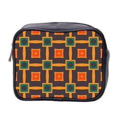 Connected shapes in retro colors                         Mini Toiletries Bag (Two Sides)