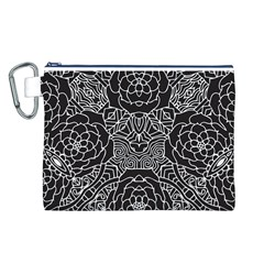 Petals in Black White, Bold Flower Design Canvas Cosmetic Bag (Large)