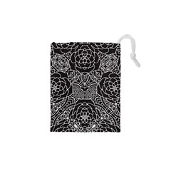 Petals in Black White, Bold Flower Design Drawstring Pouch (XS)
