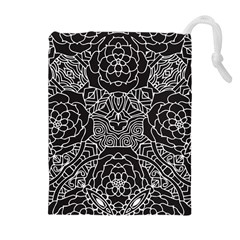 Petals in Black White, Bold Flower Design Drawstring Pouch (XL)