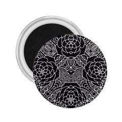 Mariager, Bold flower design, black & white 2.25  Magnet