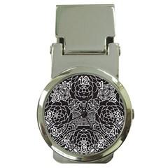 Mariager, Bold flower design, black & white Money Clip Watch