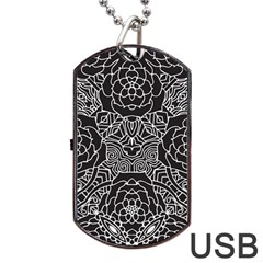 Mariager, Bold flower design, black & white Dog Tag USB Flash (One Side)