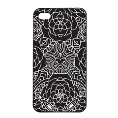 Mariager, Bold flower design, black & white Apple iPhone 4/4s Seamless Case (Black)