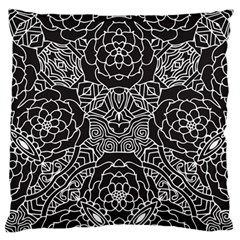 Mariager, bold flower design, black & white Large Flano Cushion Case (One Side)