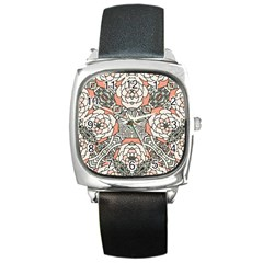 Petals in Vintage Pink, Bold Flower Design Square Metal Watch