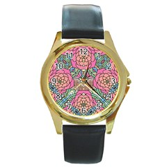 Petals, Carnival, Bold Flower Design Round Gold Metal Watch