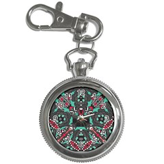 Petals in Dark & Pink, Bold Flower Design Key Chain Watch