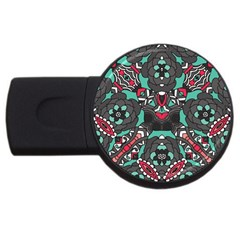 Petals in Dark & Pink, Bold Flower Design USB Flash Drive Round (1 GB)