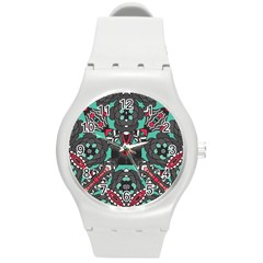 Petals in Dark & Pink, Bold Flower Design Round Plastic Sport Watch (M)