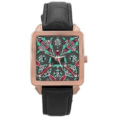 Petals in Dark & Pink, Bold Flower Design Rose Gold Leather Watch