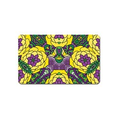 Petals in Mardi Gras colors, Bold Floral Design Magnet (Name Card)