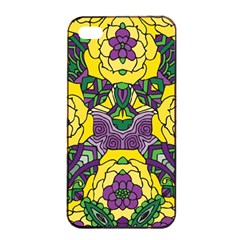 Petals in Mardi Gras colors, Bold Floral Design Apple iPhone 4/4s Seamless Case (Black)