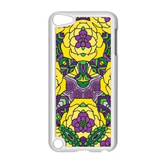 Petals in Mardi Gras colors, Bold Floral Design Apple iPod Touch 5 Case (White)