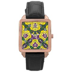 Petals in Mardi Gras colors, Bold Floral Design Rose Gold Leather Watch