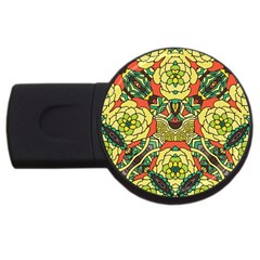 Petals, Retro Yellow, Bold Flower Design USB Flash Drive Round (2 GB)