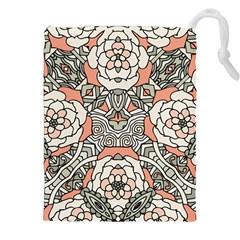 Petals in Vintage Pink, Bold Flower Design Drawstring Pouch (XXL)