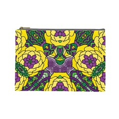 Petals in Mardi Gras colors, Bold Floral Design Cosmetic Bag (Large)