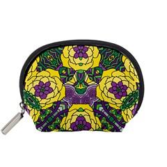 Petals in Mardi Gras colors, Bold Floral Design Accessory Pouch (Small)