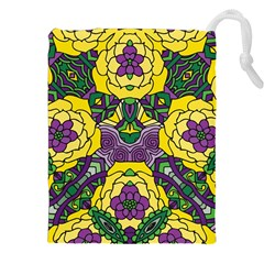 Petals in Mardi Gras colors, Bold Floral Design Drawstring Pouch (XXL)