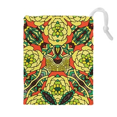 Petals, Retro Yellow, Bold Flower Design Drawstring Pouch (XL)