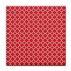 Poppy Red Quatrefoil Pattern Face Towel