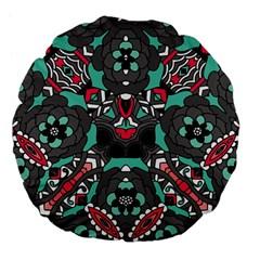 Petals in Dark & Pink, Bold Flower Design Large 18  Premium Flano Round Cushion