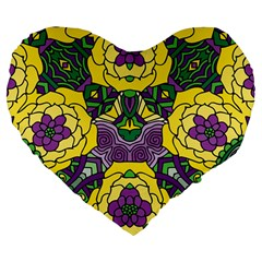 Petals in Mardi Gras colors, Bold Floral Design Large 19  Premium Heart Shape Cushion