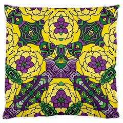 Petals in Mardi Gras colors, Bold Floral Design Large Flano Cushion Case (One Side)