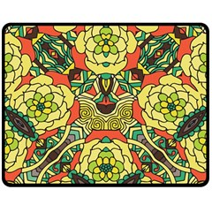 Petals, Retro Yellow, Bold Flower Design Double Sided Fleece Blanket (medium)