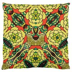 Petals, Retro Yellow, Bold Flower Design Large Flano Cushion Case (One Side)