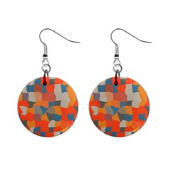 Retro colors distorted shapes                           1  Button Earrings