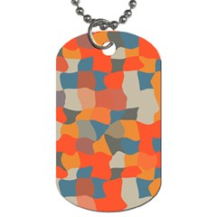 Retro colors distorted shapes                           			Dog Tag (One Side)