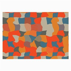 Retro colors distorted shapes                           Large Glasses Cloth
