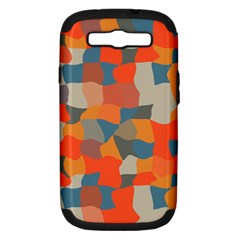 Retro colors distorted shapes                           Samsung Galaxy S III Hardshell Case (PC+Silicone)