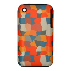 Retro colors distorted shapes                           			Apple iPhone 3G/3GS Hardshell Case (PC+Silicone)