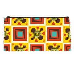 Retro colors squares pattern                            Pencil Case