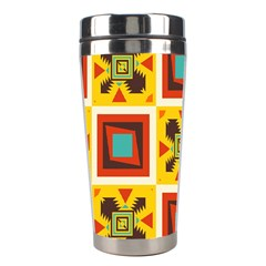 Retro colors squares pattern                            Stainless Steel Travel Tumbler