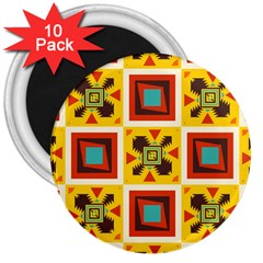 Retro colors squares pattern                            			3  Magnet (10 pack)